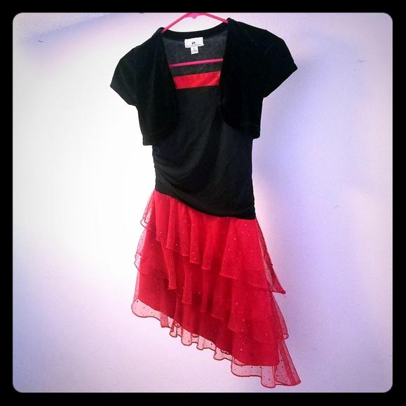 IZ byer California Other - IZ black velvet and red sequined dress size 10